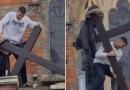 Nastolatek w biały dzień zrzucił krzyż z kościoła [WIDEO]